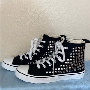 Shoes - Brand new black high tops covered w/ silver studs